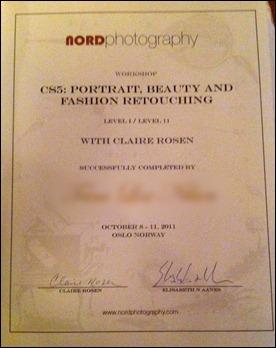 Diplom for å ha gjennomført workshopen med suksess fikk vi også