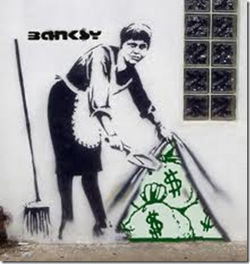 Graffiti artisten Banksy - penger i den synlige og usynlige verden - Your money is waiting for you in the invisible, and to bring it into the visible, think wealth!