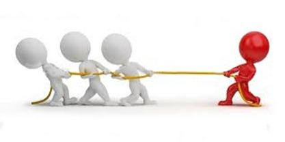 Kanskje du heller drar i din egen retning, det er uansett en måte å konkurrere mot hele verden på. Pulling rope one against many